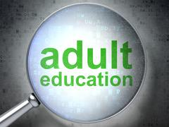 Education concept: Adult Education with optical glass - stock illustration