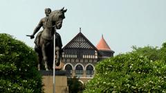 India Maharashtra District Mumbai 036 statue of Chhatrapati Shivaji Stock Footage