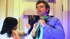 Problems getting dressed husband tie Stock Footage