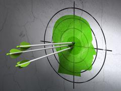 Business concept: arrows in Head target on wall background - stock illustration