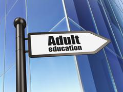 Education concept: sign Adult Education on Building background - stock illustration
