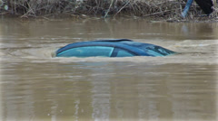Flooded car Stock Footage