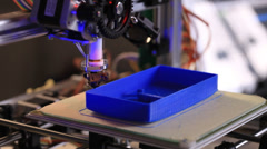 printing  with plastic wire filament on 3d printer - stock footage