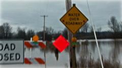Road closed flood. Stock Footage