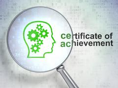 Education concept: Head Gears and Certificate of Achievement Stock Illustration