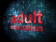Education concept: Adult Education on digital background - stock illustration
