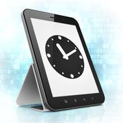 Time concept: Clock on tablet pc computer Stock Illustration