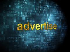 Advertising concept: Advertise on digital background - stock illustration