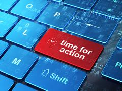 Time concept: Clock and Time for Action on keyboard background - stock illustration