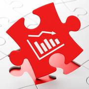 Stock Illustration of Business concept: Decline Graph on puzzle background
