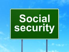 Safety concept: Social Security on road sign background Stock Illustration