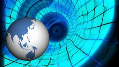 FullHD video of Earth is moving inside abstract tunnel Stock Footage
