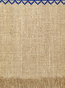 linen natural texture pattern with fringe.background. - stock photo