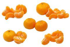 set of ripe tangerine and tangerine semgents.isolated. - stock photo
