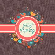 Stock Illustration of happy spring vintage label illustration