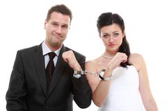 Break up ending relationship between husband and wife. couple in divorce cris Stock Photos
