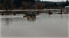 Flood on Road and house. River Flood. Flooded car. Stock Footage