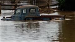 Flooded car. Flood. Stock Footage