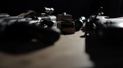 Guns on Table Stock Footage