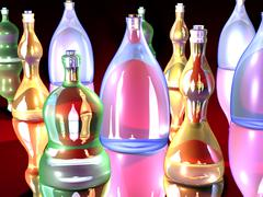 Gaudy bottles . Stock Illustration