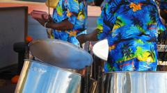 Drummers perform hawaiian music for torists on Caribbean island - stock footage