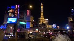 Timelapse traffic street downtown Las Vegas Strip night illuminated video USA US Stock Footage