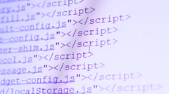 HTML Codes Scrolling on a PC Display Stock Footage