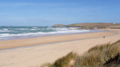 Pan over Constantine Bay, Cornwall, UK Stock Footage