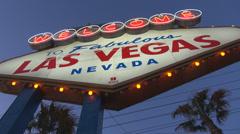 Closeup Las Vegas entrance Famous sin city road information fabulous sign USA Stock Footage