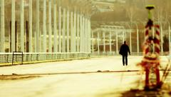 A Lone Man on the Higway Stock Footage