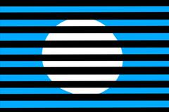 white circle on a blue background behind a black grille - stock illustration