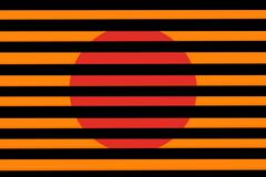 Stock Illustration of red circle on a orange background behind a black grille
