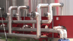 heat station pipe and valve - stock footage