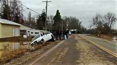 Flood on Road and house. River Flood. Stock Footage