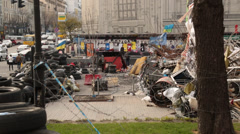 Stock Video Footage of maidan square in kiev full of debris from activist protests