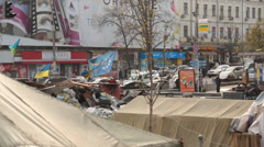 Maidan square in kiev filled with tents and debris from protests Stock Footage