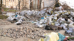 Closeup of protest debris left in maidan square in kiev Stock Footage