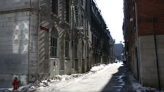 Industrial warehouse street Montreal Stock Footage