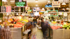 LA Grand Central Market Time Lapse -Close Up- - stock footage
