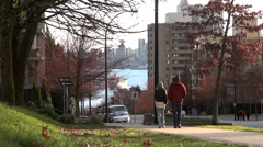 Vancouver Downtown Waterfront From North Shore Stock Footage