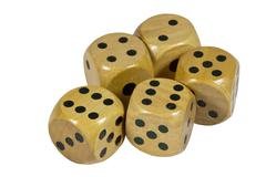 five shiny wooden dice with black dots - stock photo
