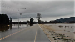 Road flood. Water on road. Stock Footage