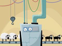 Sheeps on the conveyor Stock Illustration