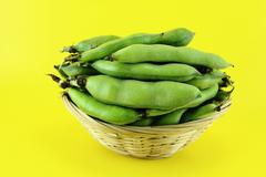 Broad bean pods and beans Stock Photos