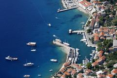 Bol harbour from air - stock photo