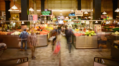 4K LA Grand Central Market Time Lapse -Tilt Up- - stock footage