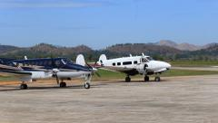 Airplane in Busuanga airport in island Coron. Philippines. - stock footage