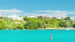 Bermuda's St. George's Harbor with Buildings and Yachts - stock footage