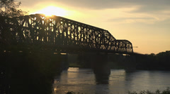 MISSISSIPPI RIVER AND BRIDGES AT DUSK - stock footage