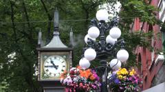 Vancouver Landmark - Singing Steam Clock + Sound Stock Footage